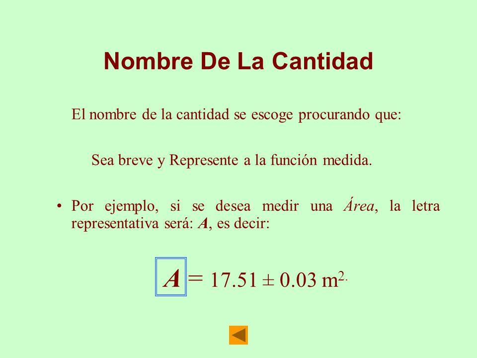 Nombre De La Cantidad El nombre de la cantidad se escoge procurando que: Sea breve y Represente a la función medida. Por ejemplo, si se desea medir un