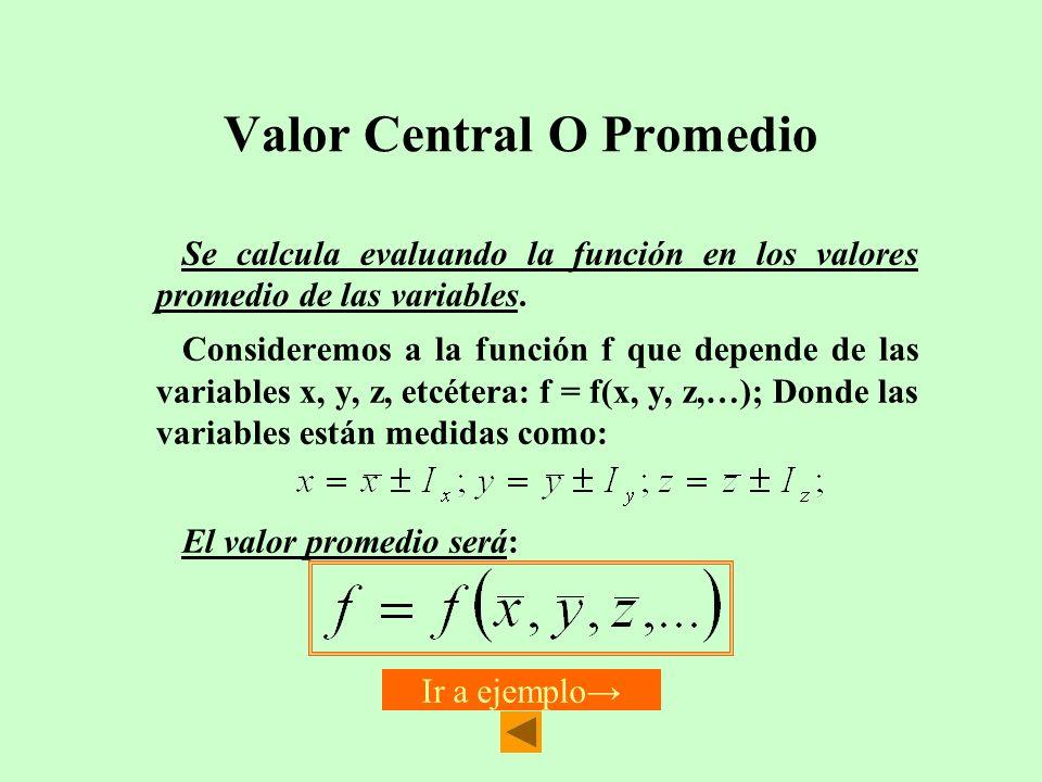 Valor Central O Promedio Se calcula evaluando la función en los valores promedio de las variables. Consideremos a la función f que depende de las vari