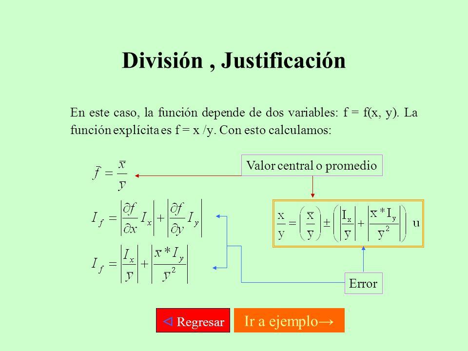 División, Justificación En este caso, la función depende de dos variables: f = f(x, y). La función explícita es f = x /y. Con esto calculamos: Valor c