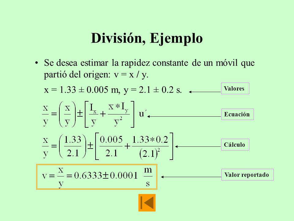 División, Ejemplo Se desea estimar la rapidez constante de un móvil que partió del origen: v = x / y. x = 1.33 ± 0.005 m, y = 2.1 ± 0.2 s. Valores Ecu