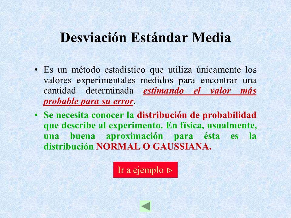 Desviación Estándar Media Es un método estadístico que utiliza únicamente los valores experimentales medidos para encontrar una cantidad determinada e