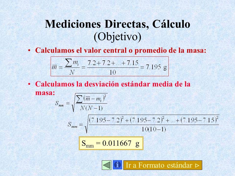 Mediciones Directas, Cálculo (Objetivo) Calculamos el valor central o promedio de la masa: Calculamos la desviación estándar media de la masa: S mm =