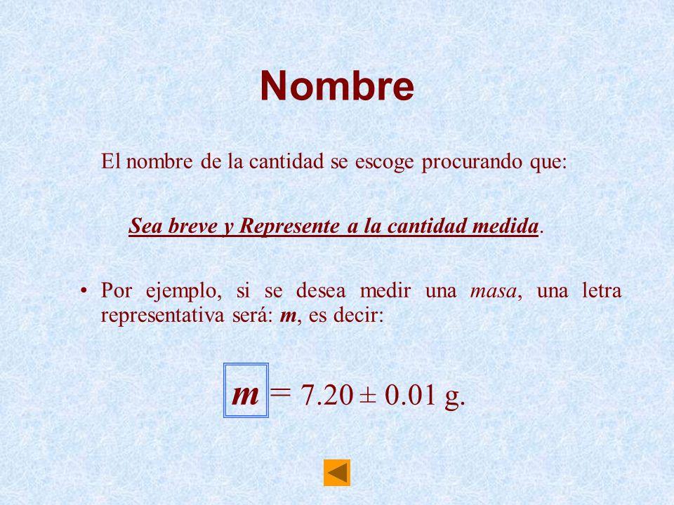Nombre El nombre de la cantidad se escoge procurando que: Sea breve y Represente a la cantidad medida. Por ejemplo, si se desea medir una masa, una le