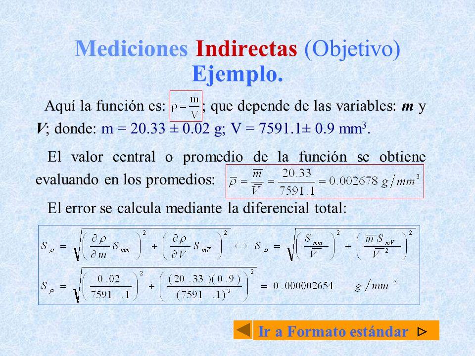 Mediciones Indirectas (Objetivo) Ejemplo. Aquí la función es: ; que depende de las variables: m y V; donde: m = 20.33 ± 0.02 g; V = 7591.1± 0.9 mm 3.