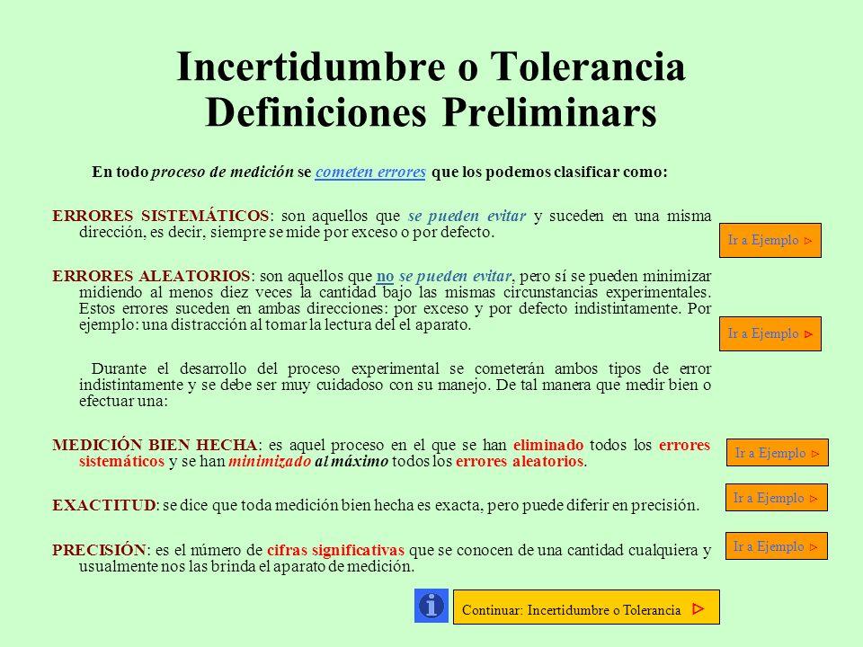 Incertidumbre o Tolerancia Definiciones Preliminars En todo proceso de medición se cometen errores que los podemos clasificar como: ERRORES SISTEMÁTIC