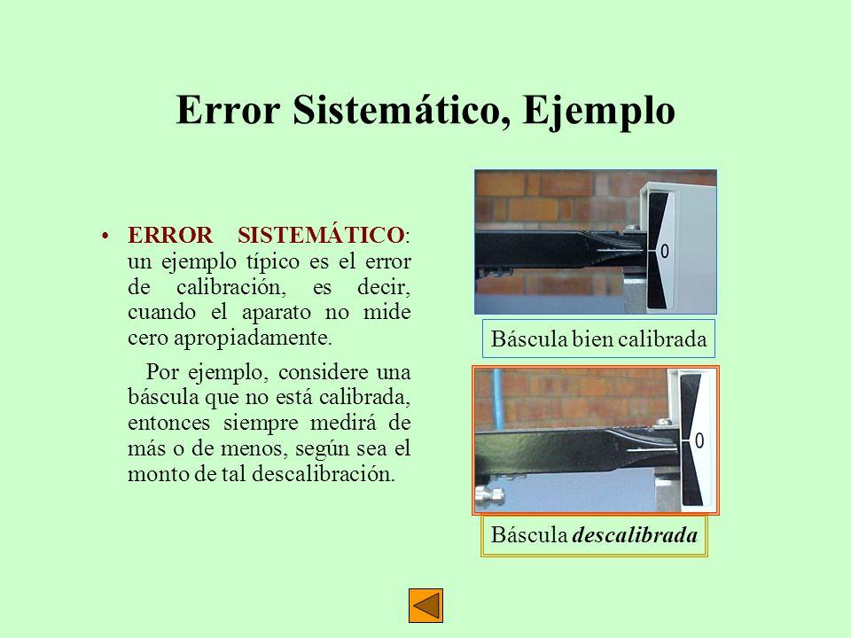 Error Sistemático, Ejemplo ERROR SISTEMÁTICO: un ejemplo típico es el error de calibración, es decir, cuando el aparato no mide cero apropiadamente. P