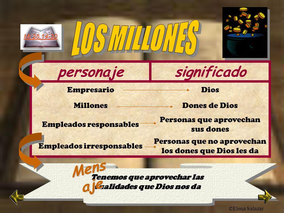 ©Elena Salazar Mt.25,14-30 personajesignificado EmpresarioDios MillonesDones de Dios Empleados responsables Personas que aprovechan sus dones Empleado