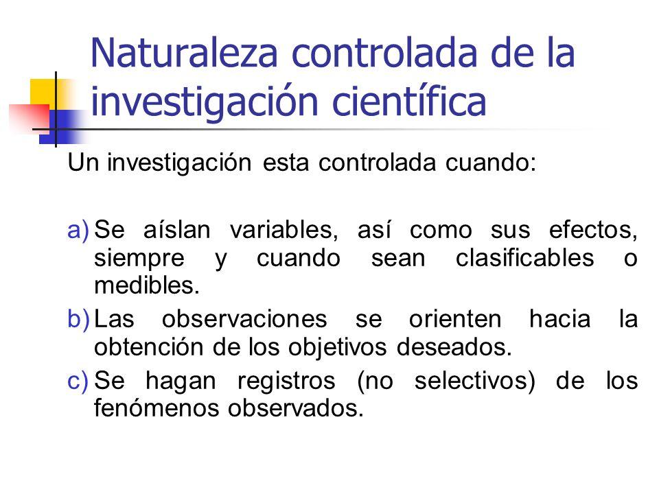 Naturaleza controlada de la investigación científica Un investigación esta controlada cuando: a)Se aíslan variables, así como sus efectos, siempre y c