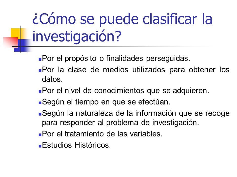 ¿Cómo se puede clasificar la investigación? Por el propósito o finalidades perseguidas. Por la clase de medios utilizados para obtener los datos. Por