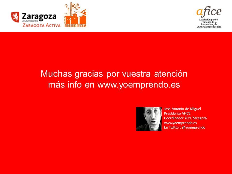 64 Prototipado de Modelos de Negocio Muchas gracias por vuestra atención más info en www.yoemprendo.es José Antonio de Miguel Presidente AFICE Coordin