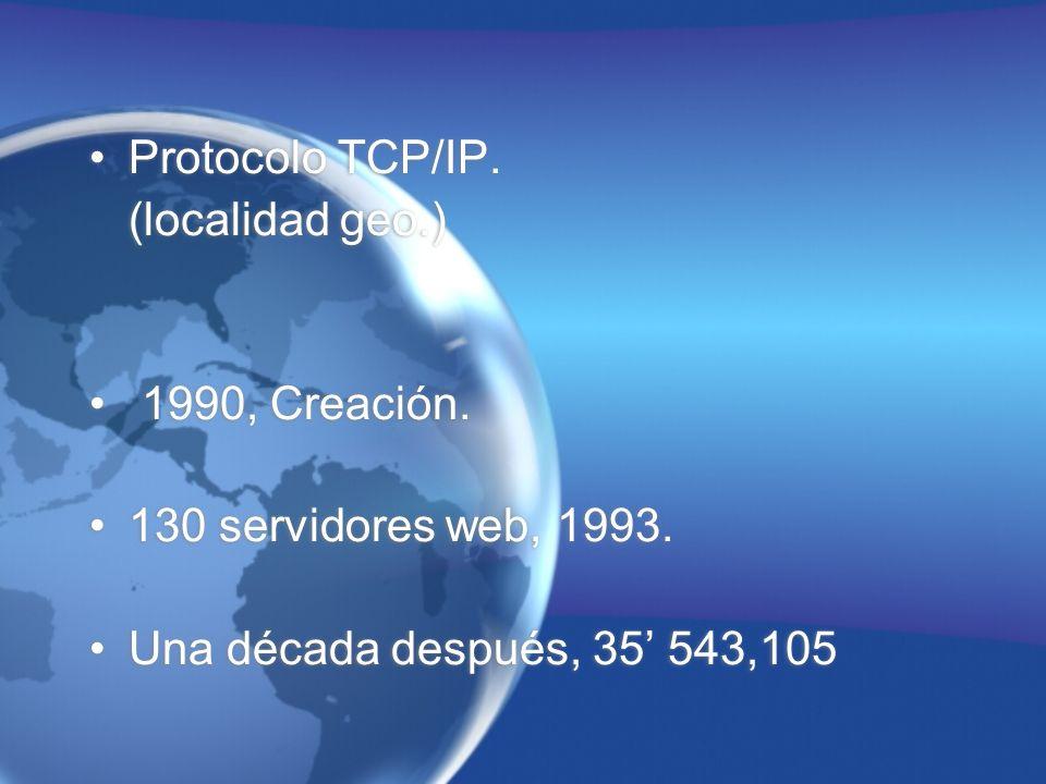 Protocolo TCP/IP. (localidad geo.) 1990, Creación.