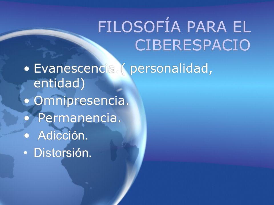 FILOSOFÍA PARA EL CIBERESPACIO Evanescencia.( personalidad, entidad) Omnipresencia.