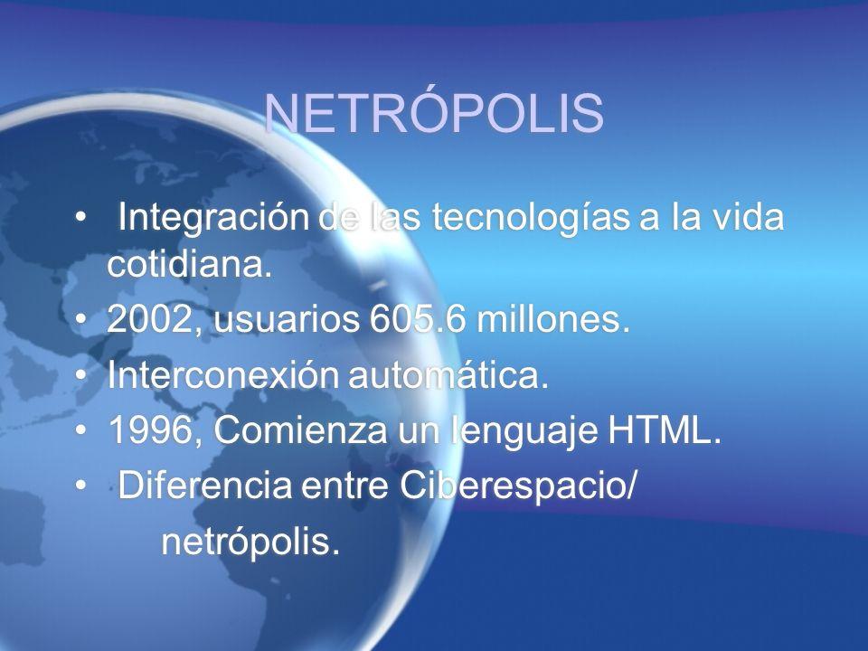 NETRÓPOLIS Integración de las tecnologías a la vida cotidiana.