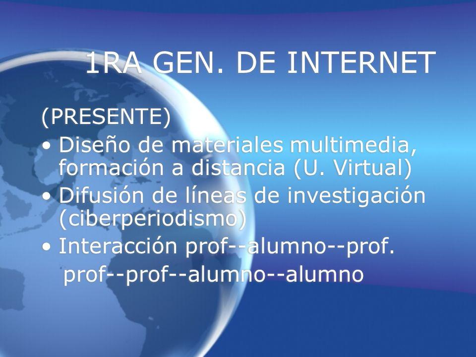 1RA GEN. DE INTERNET (PRESENTE) Diseño de materiales multimedia, formación a distancia (U.