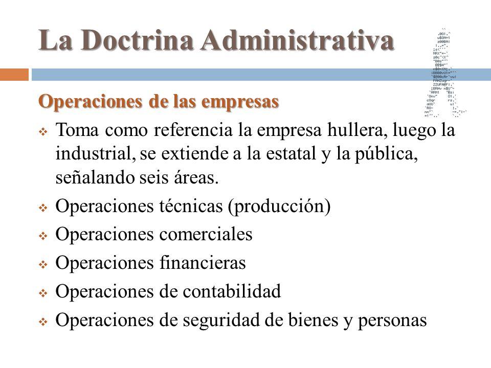 La Doctrina Administrativa Operaciones de las empresas Toma como referencia la empresa hullera, luego la industrial, se extiende a la estatal y la púb