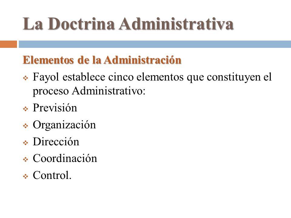 La Doctrina Administrativa Elementos de la Administración Fayol establece cinco elementos que constituyen el proceso Administrativo: Previsión Organiz