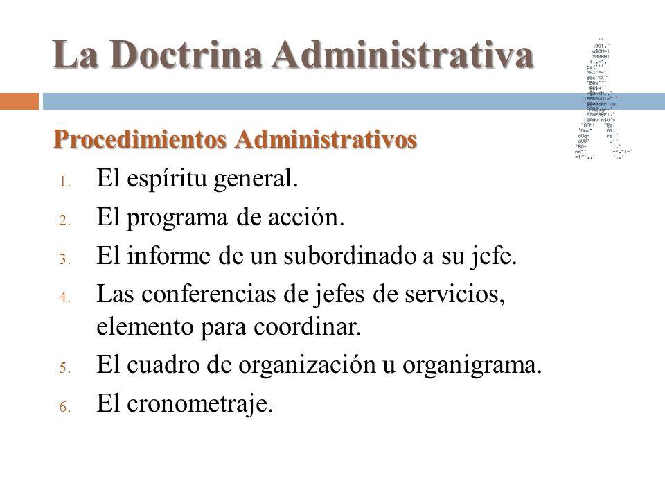 La Doctrina Administrativa Procedimientos Administrativos 1. El espíritu general. 2. El programa de acción. 3. El informe de un subordinado a su jefe.