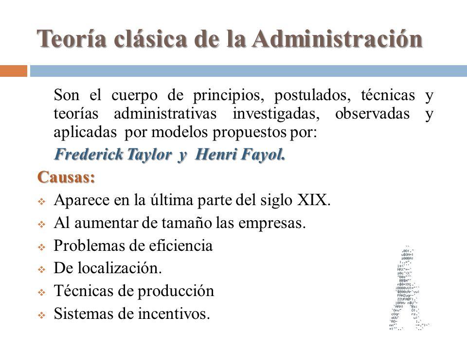 Teoría clásica de la Administración Son el cuerpo de principios, postulados, técnicas y teorías administrativas investigadas, observadas y aplicadas p