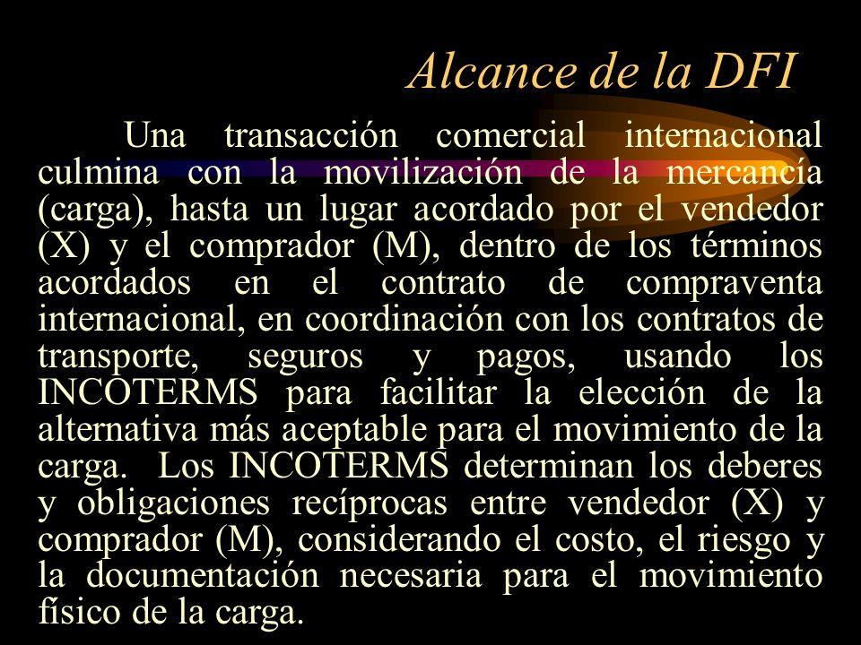 Alcance de la DFI Una transacción comercial internacional culmina con la movilización de la mercancía (carga), hasta un lugar acordado por el vendedor
