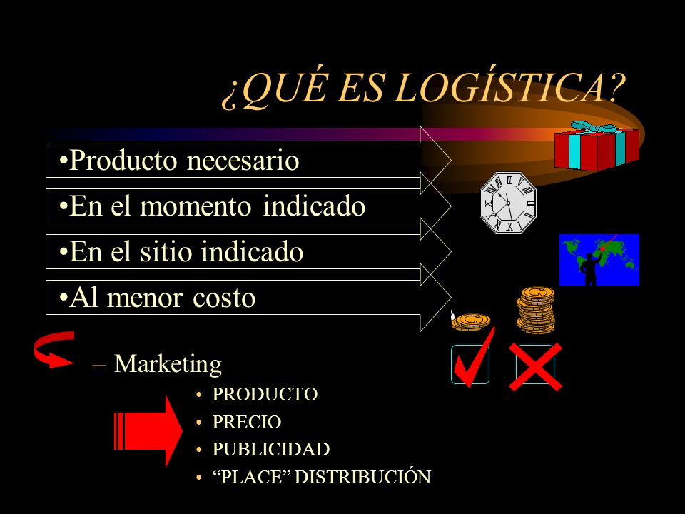 –Marketing PRODUCTO PRECIO PUBLICIDAD PLACE DISTRIBUCIÓN Producto necesario En el momento indicadoAl menor costoEn el sitio indicado