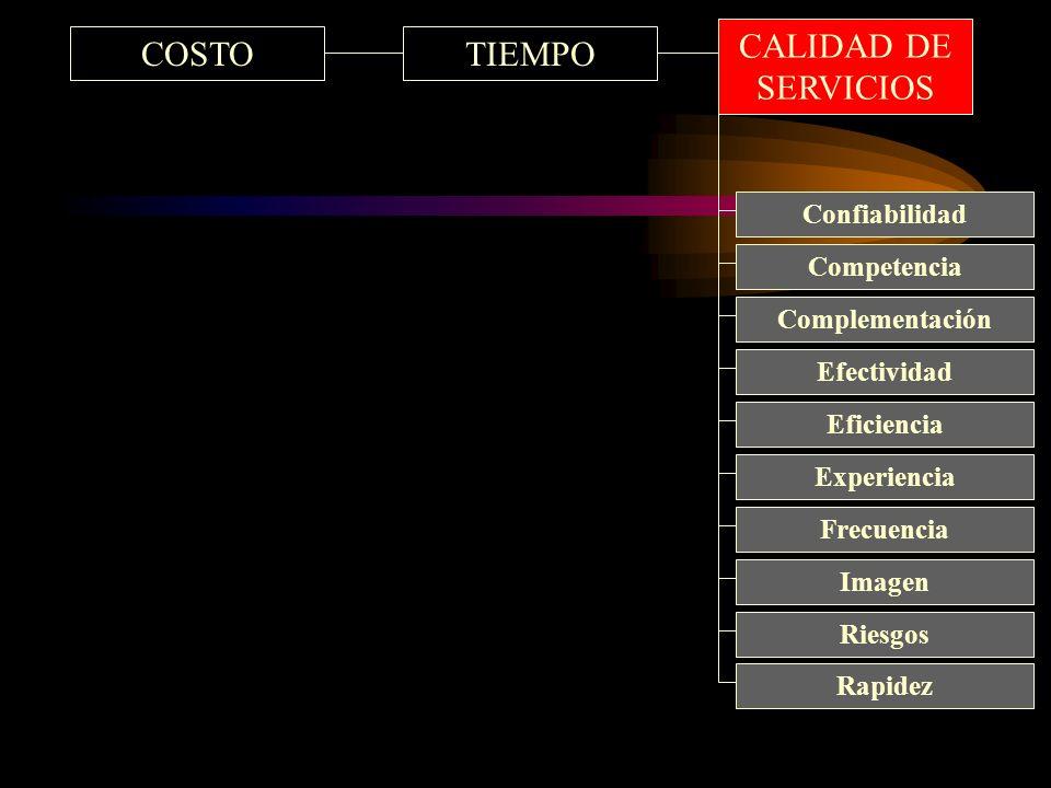 COSTOTIEMPO Eficiencia Competencia Complementación Efectividad Confiabilidad Experiencia Frecuencia Imagen Riesgos Rapidez CALIDAD DE SERVICIOS