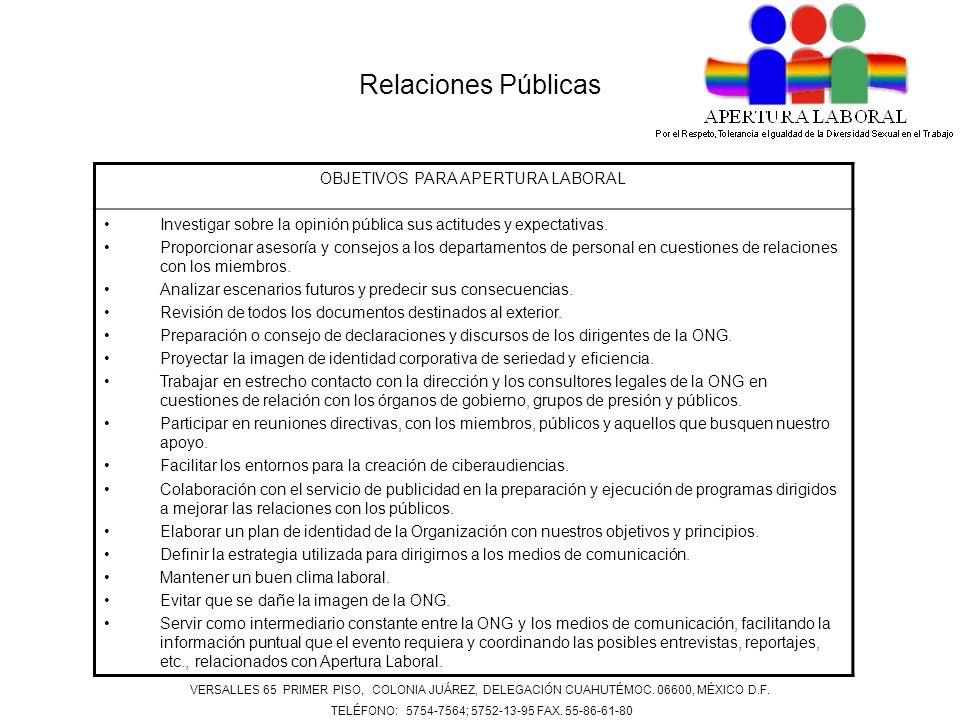 Relaciones Públicas OBJETIVOS PARA APERTURA LABORAL Investigar sobre la opinión pública sus actitudes y expectativas.