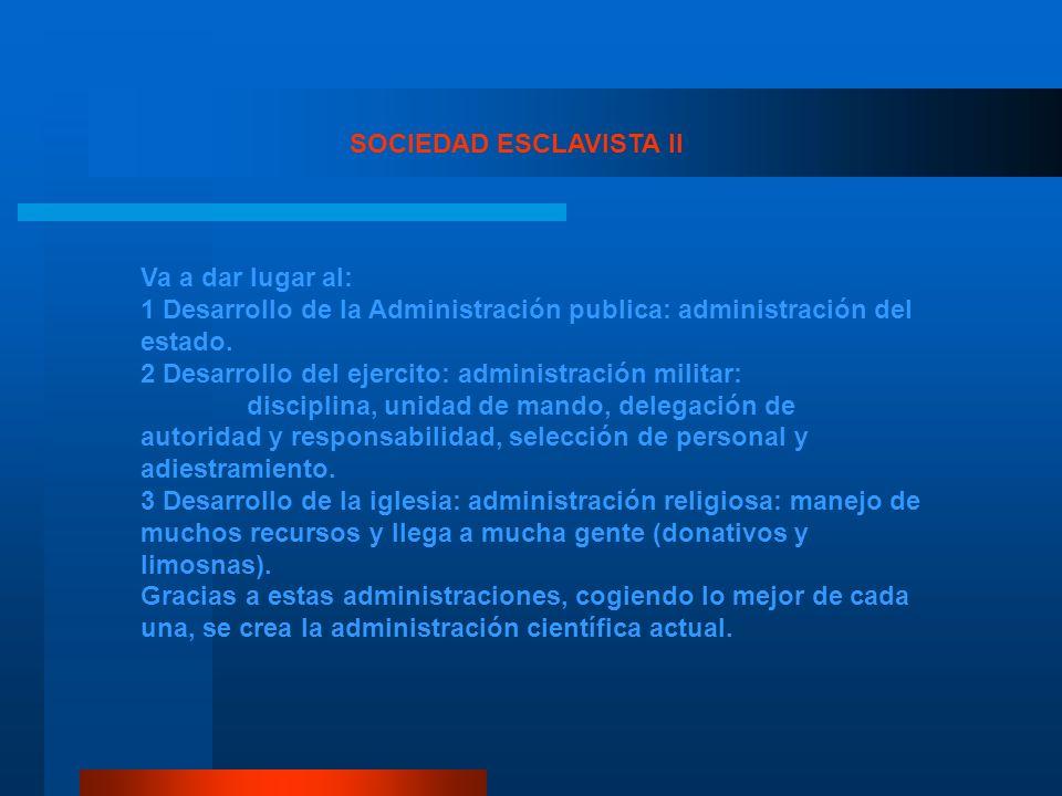Va a dar lugar al: 1 Desarrollo de la Administración publica: administración del estado. 2 Desarrollo del ejercito: administración militar: disciplina