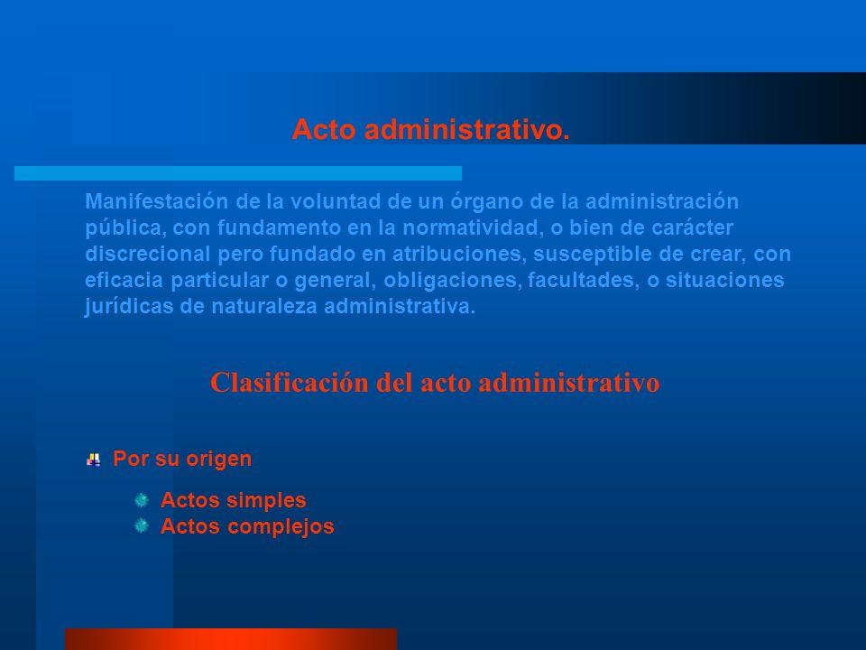 Acto administrativo. Manifestación de la voluntad de un órgano de la administración pública, con fundamento en la normatividad, o bien de carácter dis