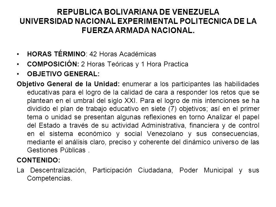 REPUBLICA BOLIVARIANA DE VENEZUELA UNIVERSIDAD NACIONAL EXPERIMENTAL POLITECNICA DE LA FUERZA ARMADA NACIONAL. HORAS TÉRMINO: 42 Horas Académicas COMP