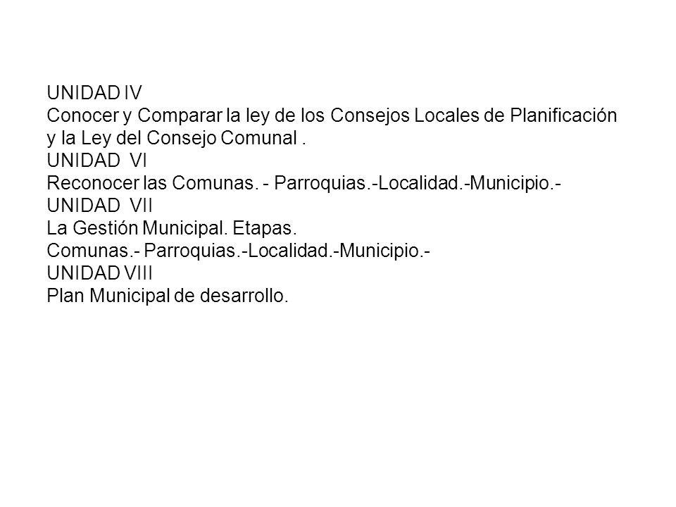 UNIDAD IV Conocer y Comparar la ley de los Consejos Locales de Planificación y la Ley del Consejo Comunal. UNIDAD VI Reconocer las Comunas. - Parroqui