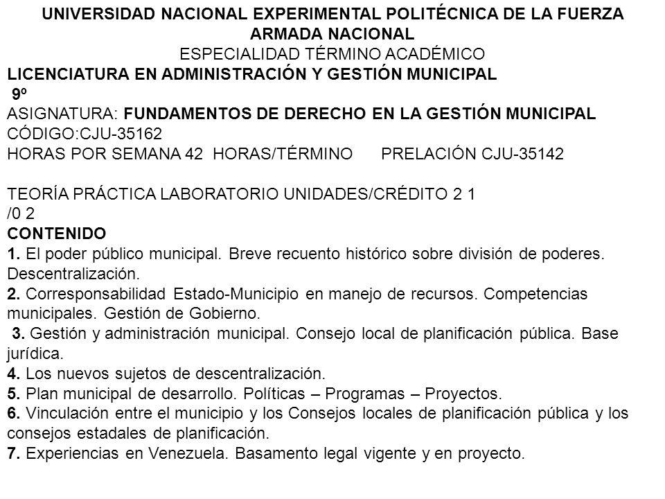 UNIVERSIDAD NACIONAL EXPERIMENTAL POLITÉCNICA DE LA FUERZA ARMADA NACIONAL ESPECIALIDAD TÉRMINO ACADÉMICO LICENCIATURA EN ADMINISTRACIÓN Y GESTIÓN MUN