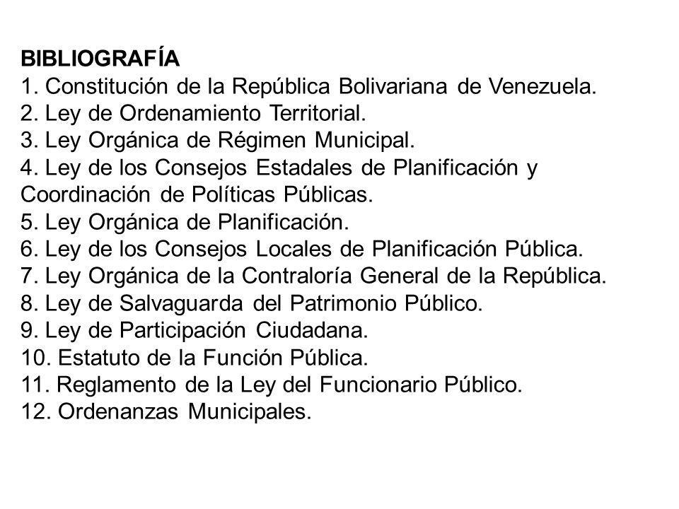 BIBLIOGRAFÍA 1. Constitución de la República Bolivariana de Venezuela. 2. Ley de Ordenamiento Territorial. 3. Ley Orgánica de Régimen Municipal. 4. Le