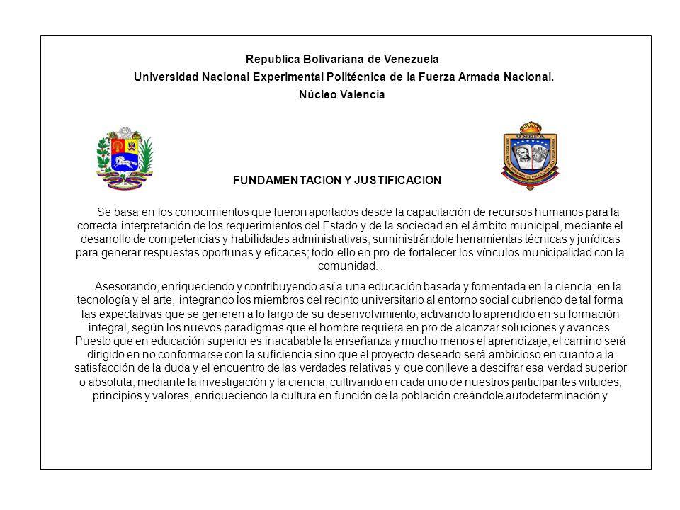 Republica Bolivariana de Venezuela Universidad Nacional Experimental Politécnica de la Fuerza Armada Nacional. Núcleo Valencia FUNDAMENTACION Y JUSTIF