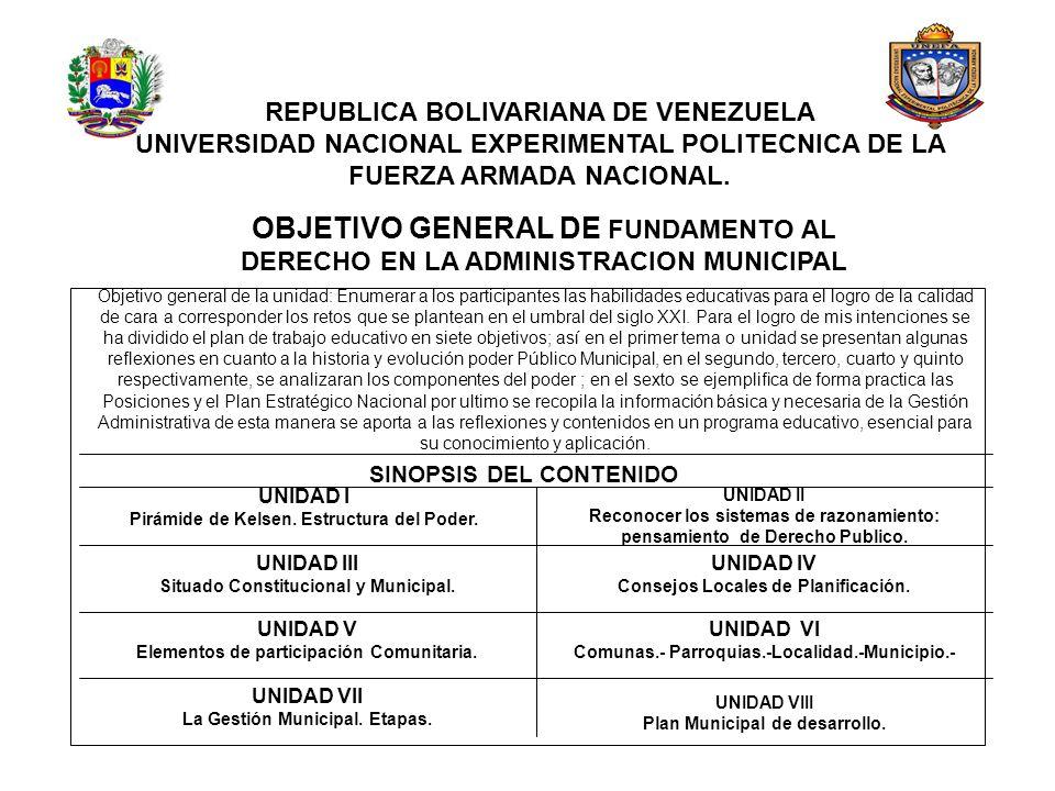 REPUBLICA BOLIVARIANA DE VENEZUELA UNIVERSIDAD NACIONAL EXPERIMENTAL POLITECNICA DE LA FUERZA ARMADA NACIONAL. OBJETIVO GENERAL DE FUNDAMENTO AL DEREC
