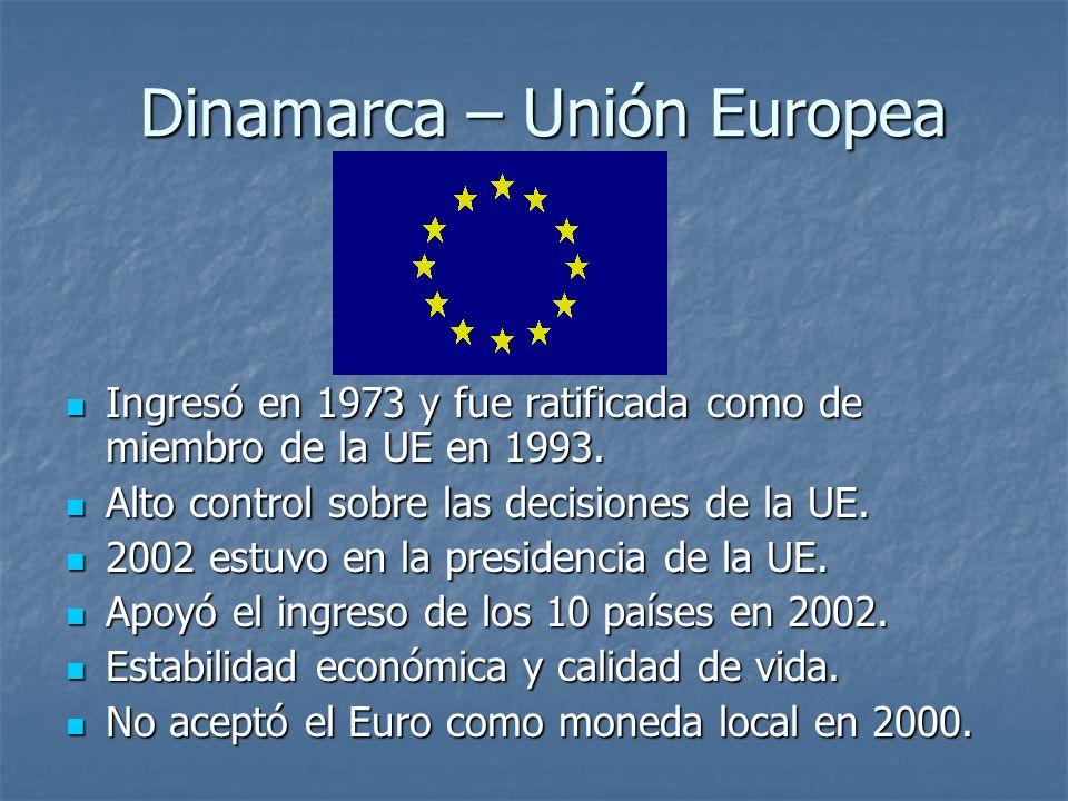 Dinamarca – Unión Europea Ingresó en 1973 y fue ratificada como de miembro de la UE en 1993. Ingresó en 1973 y fue ratificada como de miembro de la UE