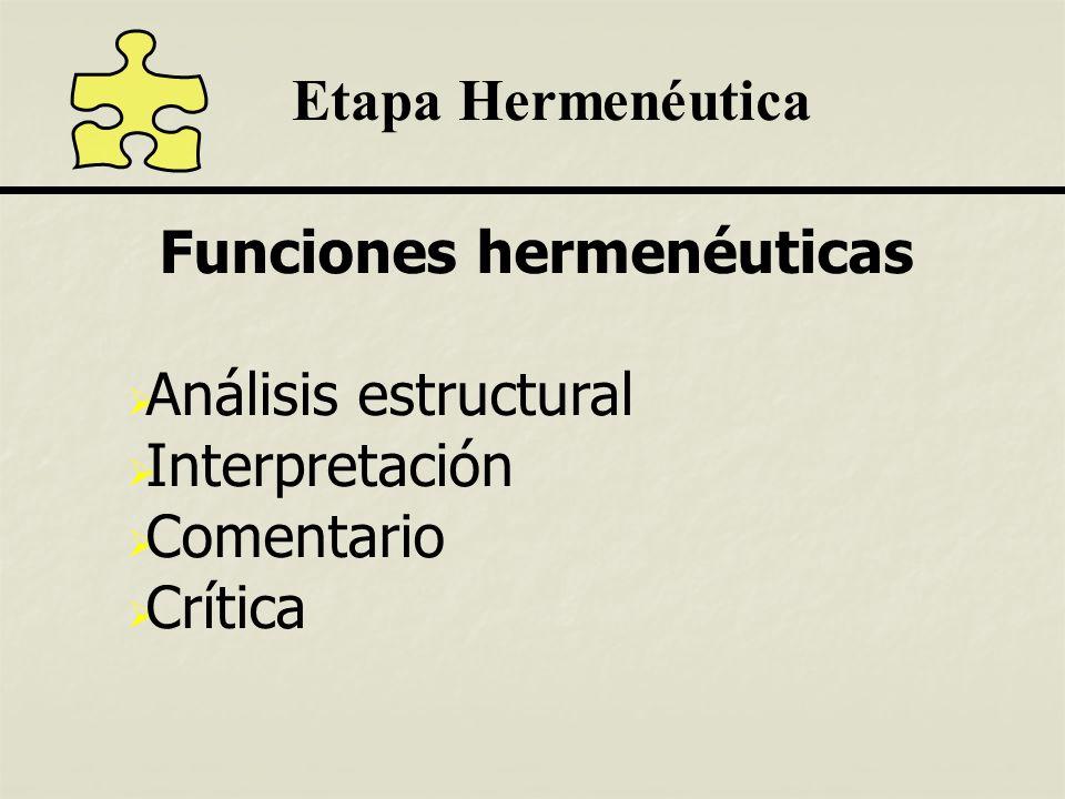 Etapa Hermenéutica Funciones hermenéuticas Análisis estructural Interpretación Comentario Crítica