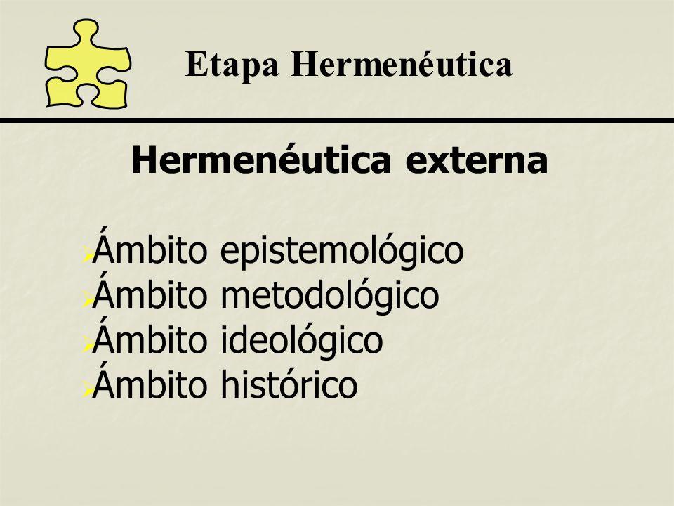Etapa Hermenéutica Hermenéutica externa Ámbito epistemológico Ámbito metodológico Ámbito ideológico Ámbito histórico