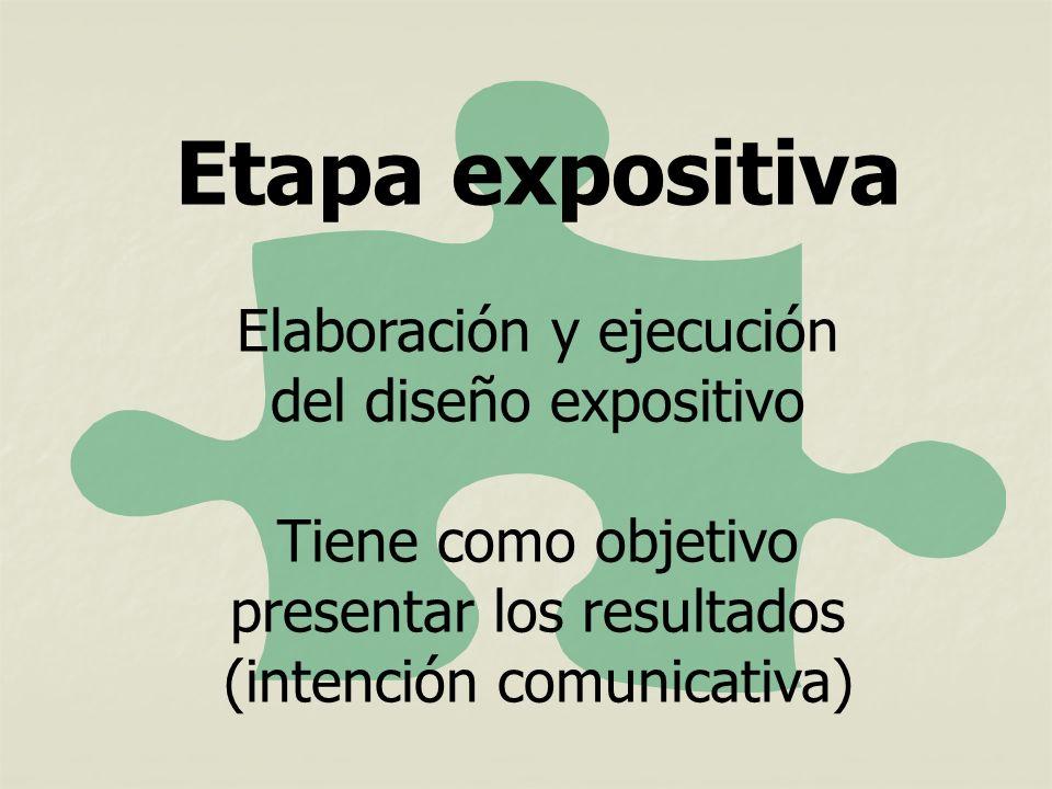 Etapa expositiva Elaboración y ejecución del diseño expositivo Tiene como objetivo presentar los resultados (intención comunicativa)
