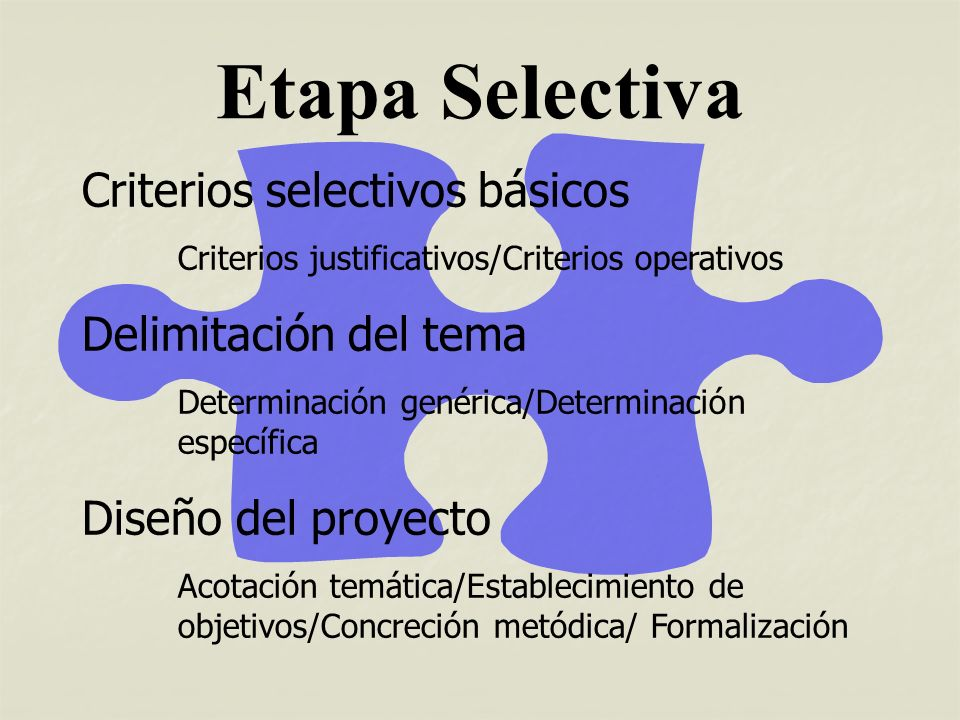 Criterios selectivos básicos Criterios justificativos Criterios justificativos Importancia Importancia Originalidad Originalidad Criterios operativos Criterios operativos Concreción Concreción Factibilidad Factibilidad