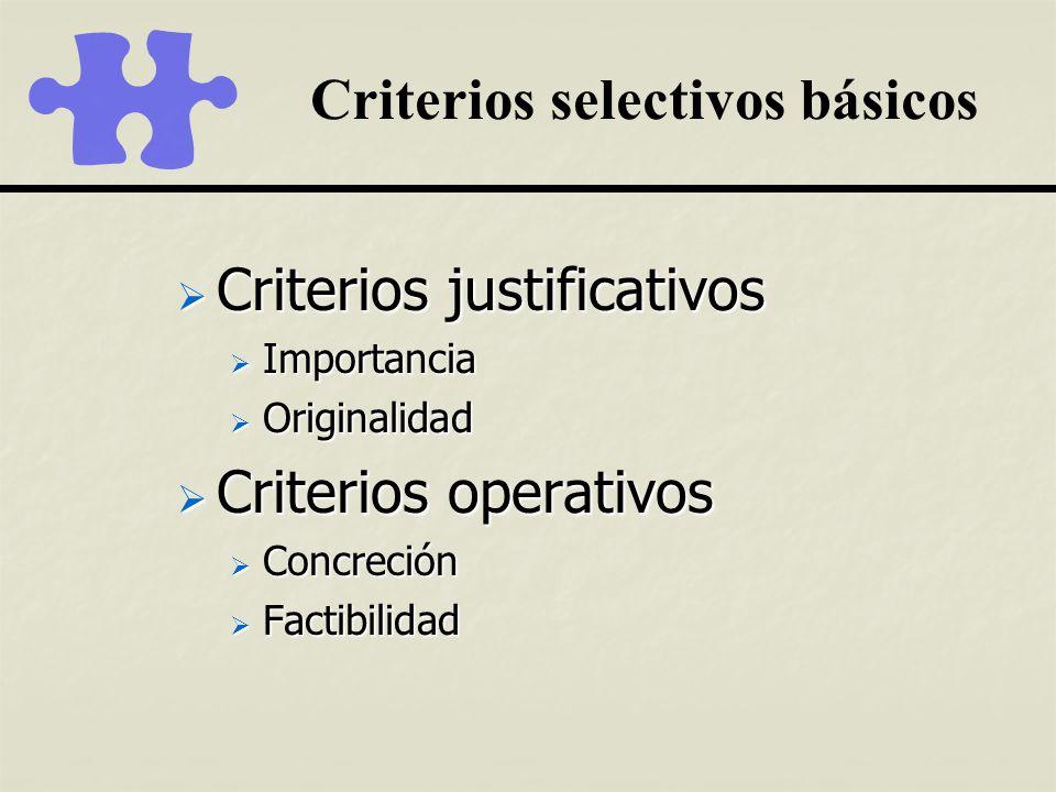 Criterios selectivos básicos Criterios justificativos Criterios justificativos Importancia Importancia Originalidad Originalidad Criterios operativos