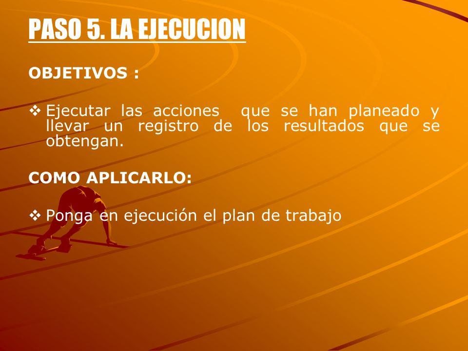 PASO 5. LA EJECUCION OBJETIVOS : Ejecutar las acciones que se han planeado y llevar un registro de los resultados que se obtengan. COMO APLICARLO: Pon