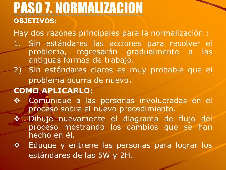 PASO 7. NORMALIZACION OBJETIVOS: Hay dos razones principales para la normalización : 1. 1.Sin estándares las acciones para resolver el problema, regre