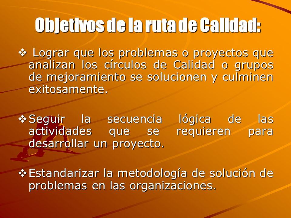 Objetivos de la ruta de Calidad: Lograr que los problemas o proyectos que analizan los círculos de Calidad o grupos de mejoramiento se solucionen y cu
