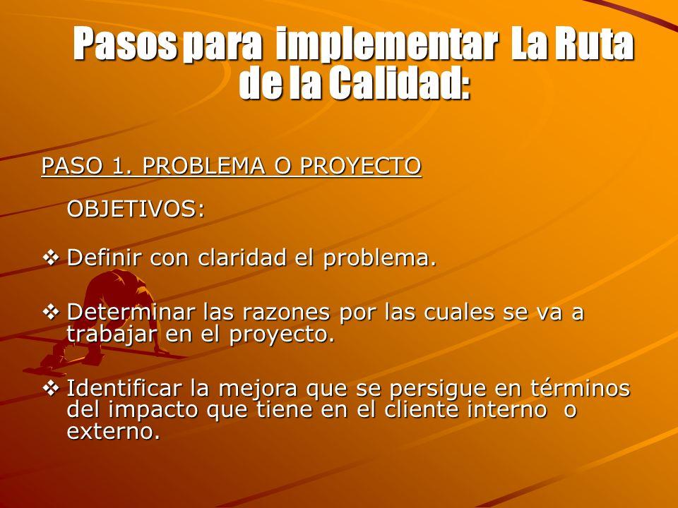 Pasos para implementar La Ruta de la Calidad: PASO 1. PROBLEMA O PROYECTO OBJETIVOS: Definir con claridad el problema. Determinar las razones por las