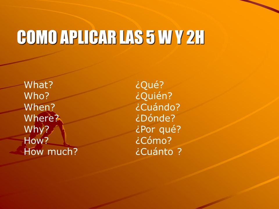 COMO APLICAR LAS 5 W Y 2H What? Who? When? Where? Why? How? How much? ¿Qué? ¿Quién? ¿Cuándo? ¿Dónde? ¿Por qué? ¿Cómo? ¿Cuánto ?