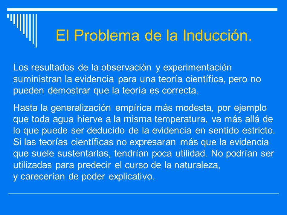 El Problema de la Inducción. Los resultados de la observación y experimentación suministran la evidencia para una teoría científica, pero no pueden de