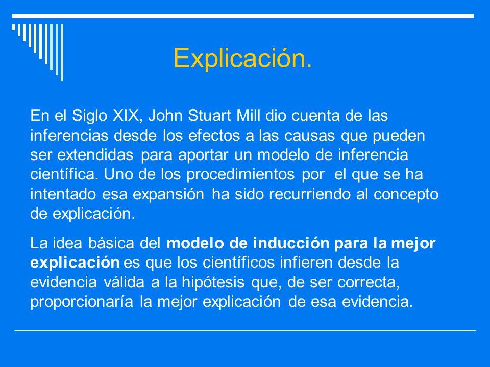 Explicación. En el Siglo XIX, John Stuart Mill dio cuenta de las inferencias desde los efectos a las causas que pueden ser extendidas para aportar un