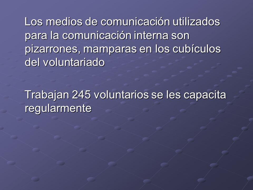 Los medios de comunicación utilizados para la comunicación interna son pizarrones, mamparas en los cubículos del voluntariado Los medios de comunicaci