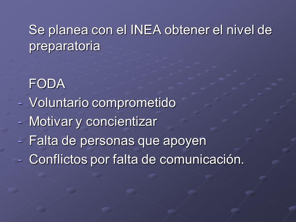 Se planea con el INEA obtener el nivel de preparatoria Se planea con el INEA obtener el nivel de preparatoria FODA FODA -Voluntario comprometido -Moti