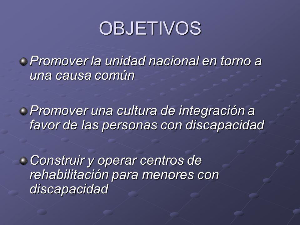 OBJETIVOS Promover la unidad nacional en torno a una causa común Promover una cultura de integración a favor de las personas con discapacidad Construi